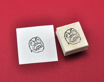 FFFFFUUUUU Face Rubber Stamp, Hand carved Stamp