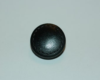 """5/8"""" Black Leather Button w/ Stitched Edge. (16mm)"""