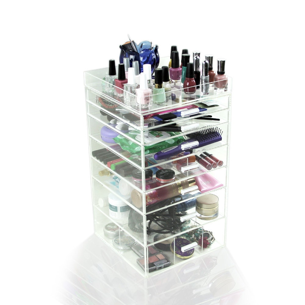 Acrylic Makeup Organizer 7 Drawers Clear Cosmetic Cube