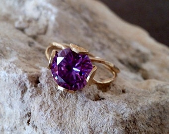 SALE! Amethyst statement ring, wedding ring,bridal jewelry, delicate ring, gold gemstone, ring, february birthstone