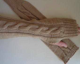 Warm soft sleeves wristlets finest wool camel arm socks not scratching