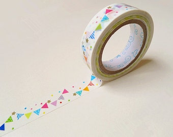 Bunting Plastic Tape - 10m,Cute Tape,Flag Plastic Tape,Diary Tape