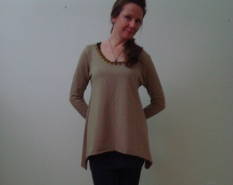 Pixie hem Stretch French Terry Tunic With Black And Gold Detailing