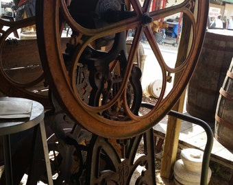 "Rare John C Dell & Sons Coffee Grinder Floor Model Untouched 61"" x 35 3/4"" Wheel"