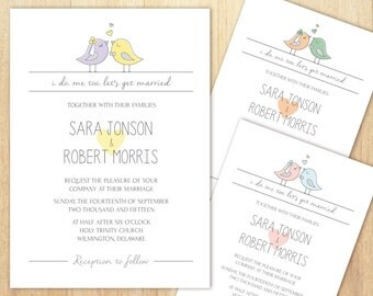 Birds Wedding Invitation, Love Birds Invitation, Lovebird Invitation, Wedding Invitation, Printable Wedding Invitation, DIY Invitation