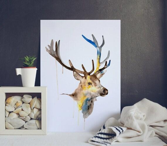 Deer Santa Watercolor Art Poster - Watercolor Giclee Art Print - Animal Watercolor Illustration - Christmas Watercolor Print - Deer Poster