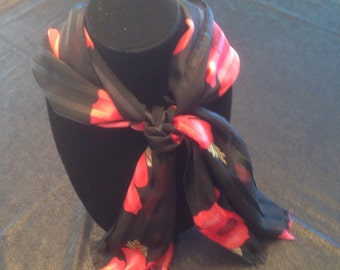 Black scarf with red poppies