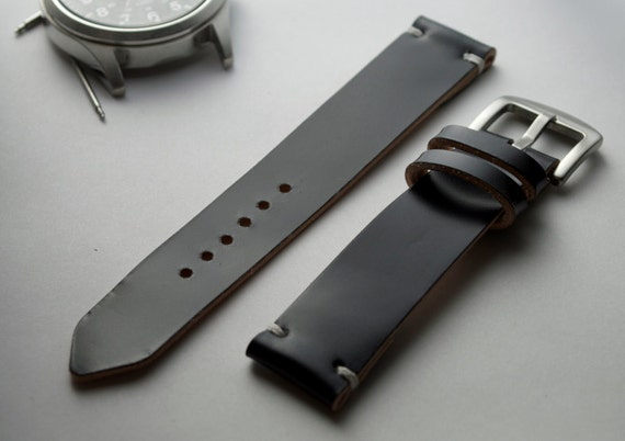 Shell cordovan leather watch strap band in black Handmade.