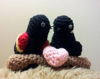 Amigurumi crochet stuffed red winged black bird cute couple~I love you