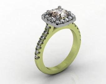 Ladies 18k two tone Engagement ring