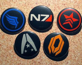 Mass Effect Button Set - N7 Badge, Renegade Badge, Paragon Badge, Cerberus Badge & Alliance Badge