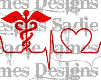Medical Caduceus Love Heartbeat EKG, SVG and Silhouette Studio cutting file, Instant Download