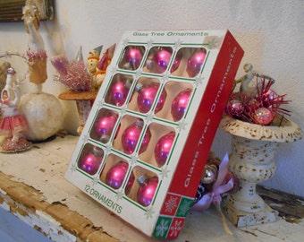 Box of 12 Fuschia Pink Christmas Balls