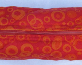 Quilted Padded Lined Cosmetics Make Up Makeup Bag Zipper Orange Pencil Holder Jewelry Travel Round Brush Art Supplies