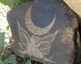 Moon Fairy Garden ART Stone Carving