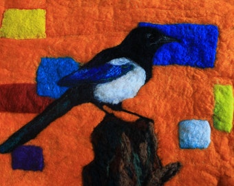 "Felted and framed magpie picture, The Treasure Seeker, 24"" x 18"""