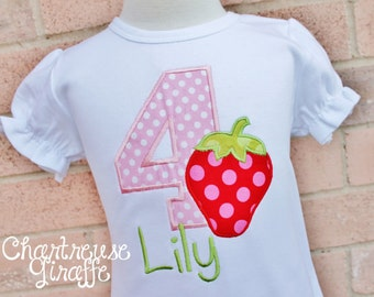 Personalized Girl's Strawberry Birthday Shirt.