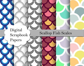 Fish Scales Digital Paper, Scallop Fish Scales, Digital Paper, Commercial Use, Background Scallop, Paper Scallop