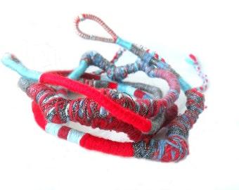 Rio Wearable Art / Yarn wrapped Necklace / Bohemian Necklace / Multistrand Bracelet  / Hippie Bohemian Necklace / Urban wraps / textile art