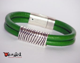 Antique Silver Tone Bead Bracelet. Green Genuine Leather Cord with Magnetic Clasp