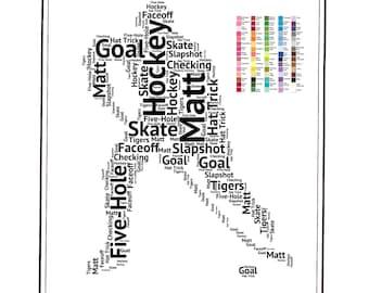 PERSONALIZED Ice Hockey Gift - Hockey Gift Word Art - Hockey Gift Ideas - Hockey Gifts 8 x 10 Print