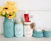 Painted Distressed Mason Jars Bathroom Set - Blue Ombre - Home Decor - Rustic Decor - Cottage Chic - Bathroom Organizer - Bathroom Accessory