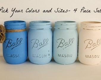 You Choose Painted Distressed Mason Jars - 4 Piece Set- Home Decor -   - Vase- Wedding Centerpiece - Baby Shower Centerpiece