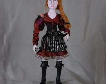 """Alvan, Valkyrie I, Soft-Sculpted Cloth Doll, OOAK, 18"""" Self-Supporting"""
