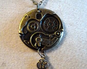 steampunk key pendant bronze