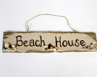 "Hand painted ""Beach House"" sign"