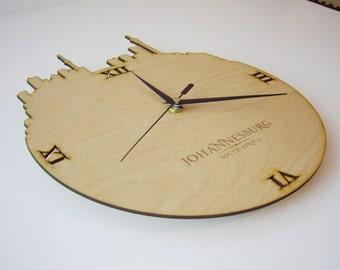 """Wooden wall clock - World cities """"Johannesburg"""""""