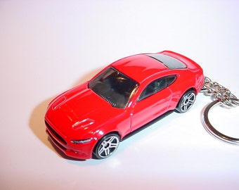 3D 2015 Ford Mustang GT custom keychain by Brian Thornton keyring key chain finished in red color trim diecast metal body