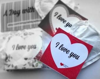 I LOVE YOU code 400 heart shaped tea bag tea tag. Perfect gift!