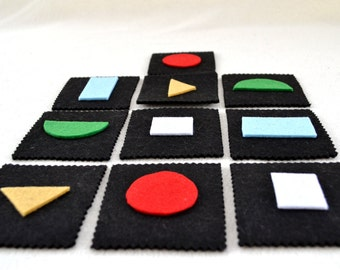 Montessori memory game with geometrical shapes for toddlers and children travel game