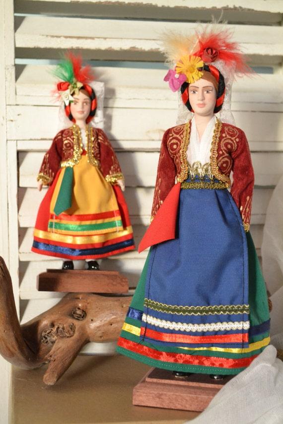Porcelain Doll Greek Traditional Costume Handmade Doll