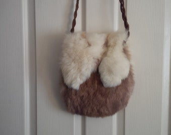 Rare Vintage Beauty from the 60's - Rabbit Fur and Leather Purse
