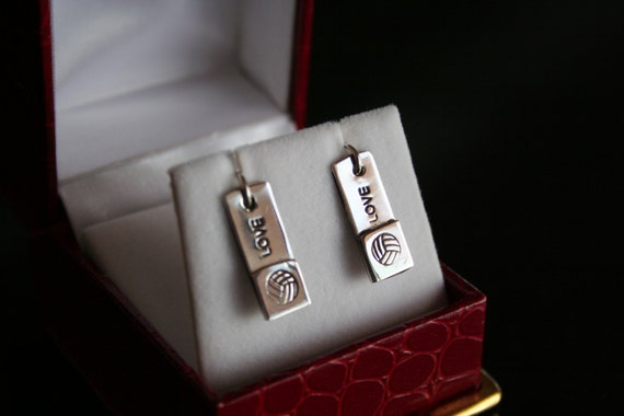 Volleyball and LOVE -- Sterling silver earrings with a Volleyball and LOVE
