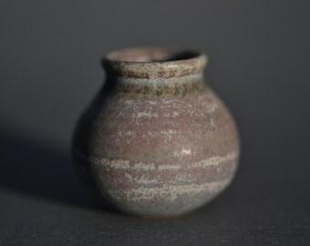 Tiny Wheel Thrown Stoneware Vase with Muti-colored Glaze