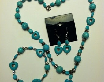 Handmade necklace, bracelet, and earrings set.  Turquoise.