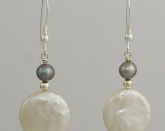 White Coin Pearl Drop Earrings