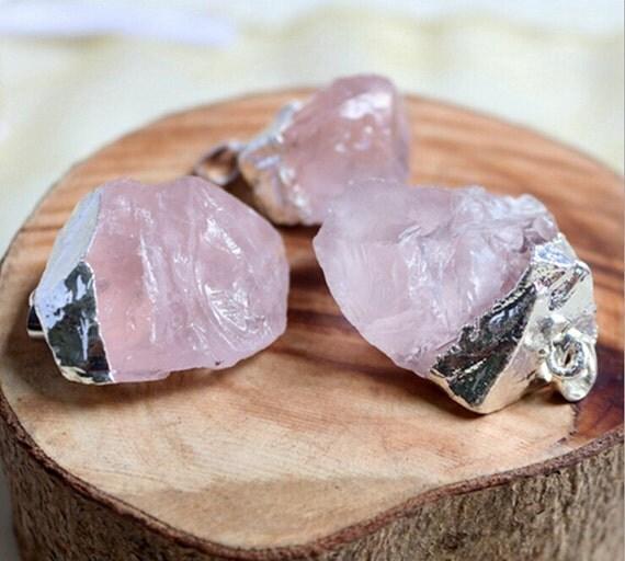 Raw rose quartz pendantnatural pink crystal gemstone pendant