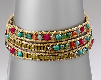 CLEARANCE - Multi Color Crystal & Stones Wrap Bracelet