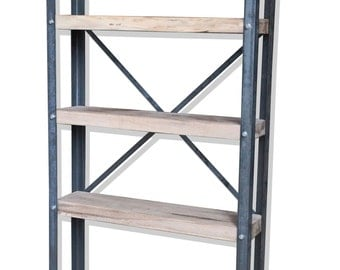 KONK! - Industrial/Rustic, Oak/Steel - BOOKCASE [Bespoke sizes available!]