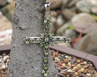 Peridot Silver Cross Pendant, Green, Crystal, Jewellery, Semi Precious Stones, Huge, Facet Stones, Religious, Gothic