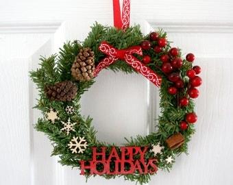 Small Christmas Wreath , Mini Christmas Wreath , happy holidays wreath, small wreath