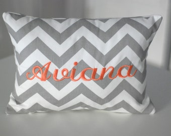 Grey and White Chevron Personalized Pillow