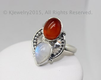 Moonstone, Chalcedony Ring, Sterling Silver Ring , Gemstone Ring