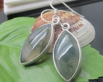 Moss Agate Earrings, Sterling Silver Earrings, Gemstone Earrings