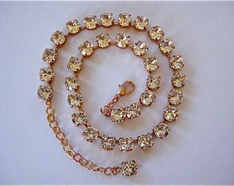 Swarovski Rose Gold Tennis Necklace, choker or princess length, 8mm Diamond Cut Crystal, bridesmaid gift, wedding necklace, bridesmaid gift