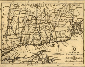 24x36 Poster; Map Connecticut Rhode Island Long Island Snd 1776